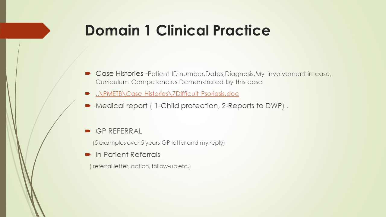 Domain 1 Clinical Practice