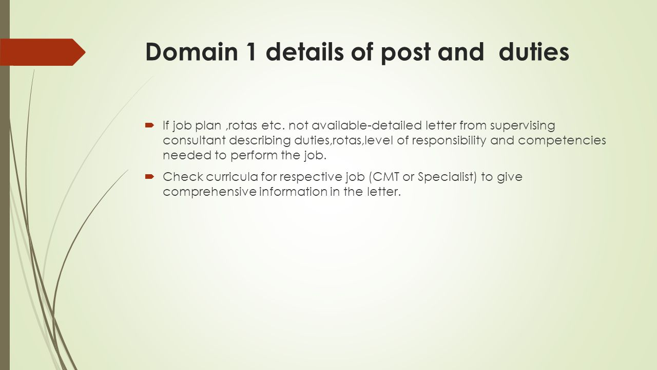 Domain 1 details of post and duties