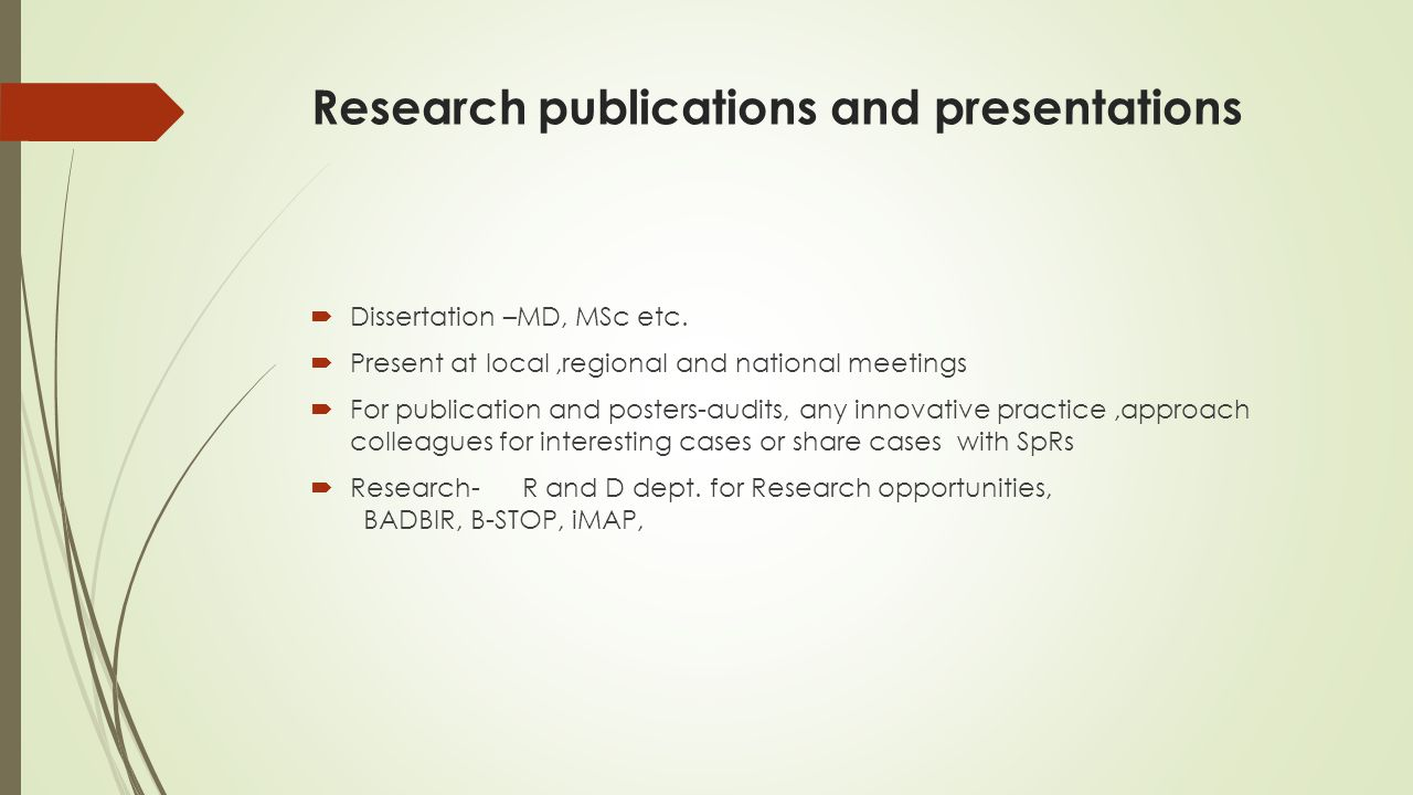 Research publications and presentations