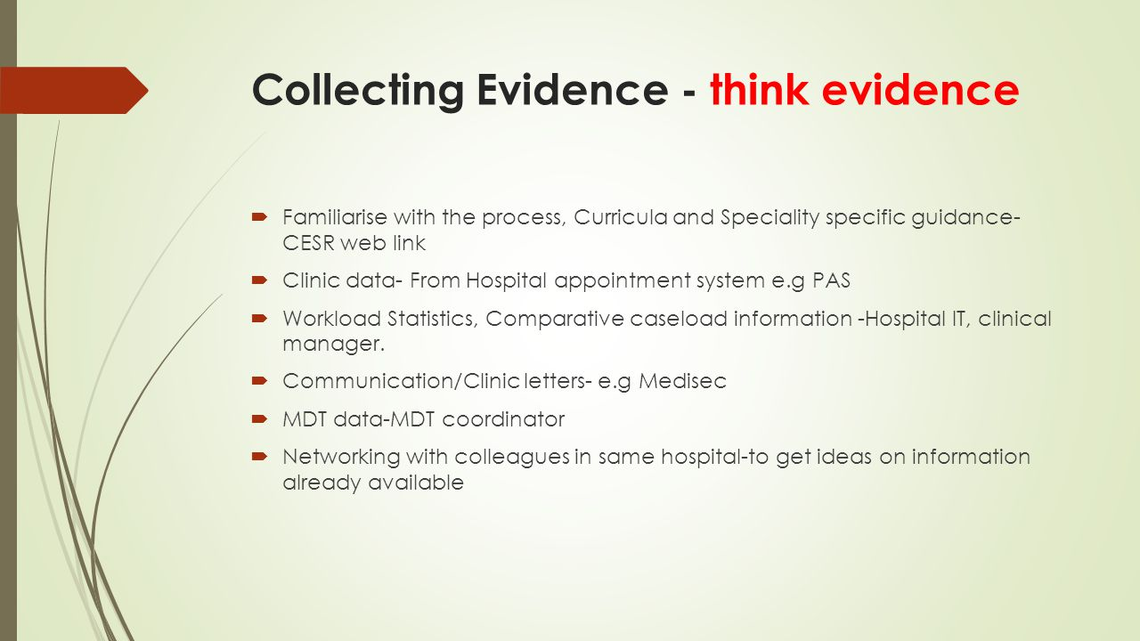 Collecting Evidence - think evidence