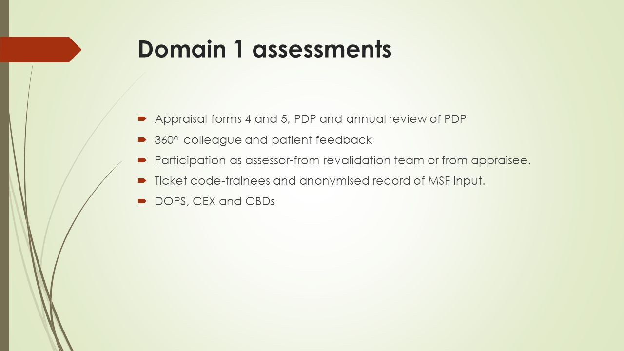 Domain 1 assessments Appraisal forms 4 and 5, PDP and annual review of PDP. 360o colleague and patient feedback.