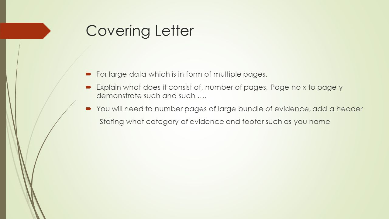 Covering Letter For large data which is in form of multiple pages.