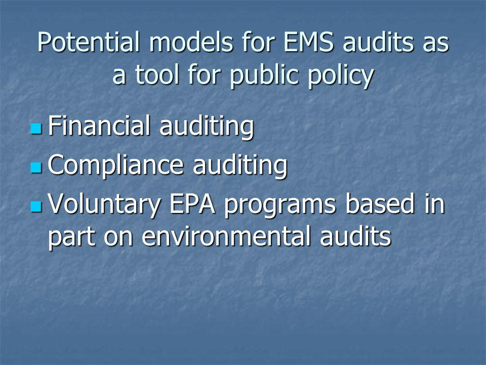 Potential models for EMS audits as a tool for public policy