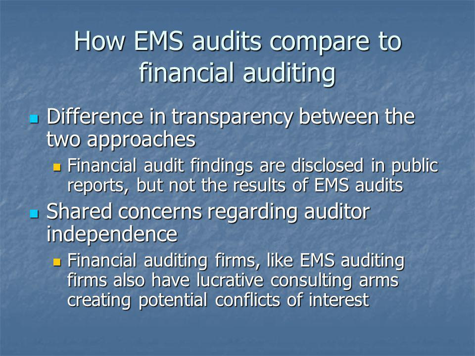 How EMS audits compare to financial auditing