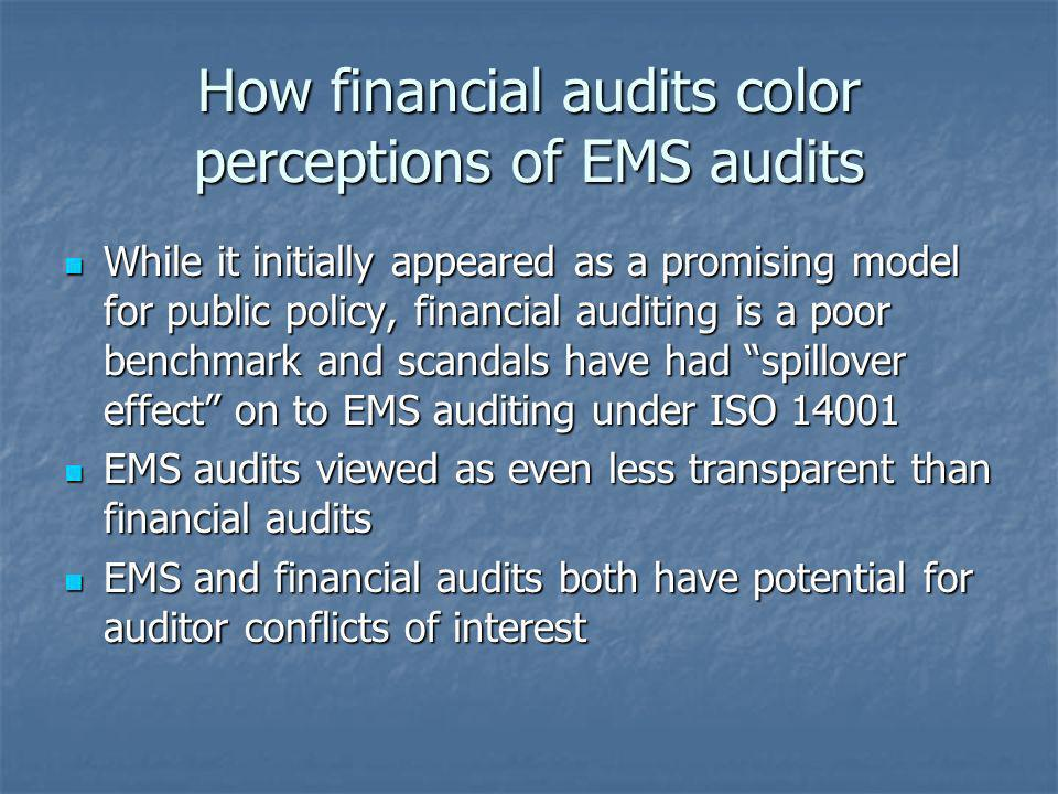 How financial audits color perceptions of EMS audits