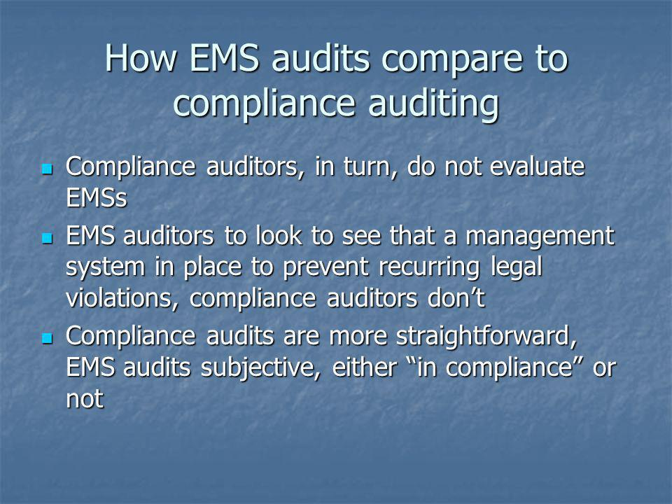 How EMS audits compare to compliance auditing