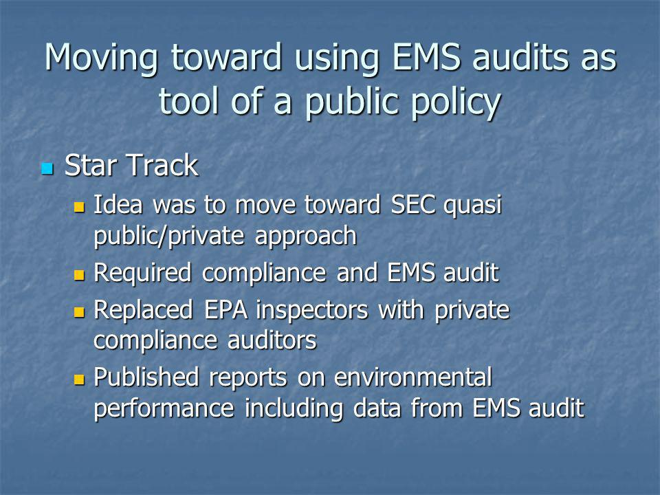 Moving toward using EMS audits as tool of a public policy