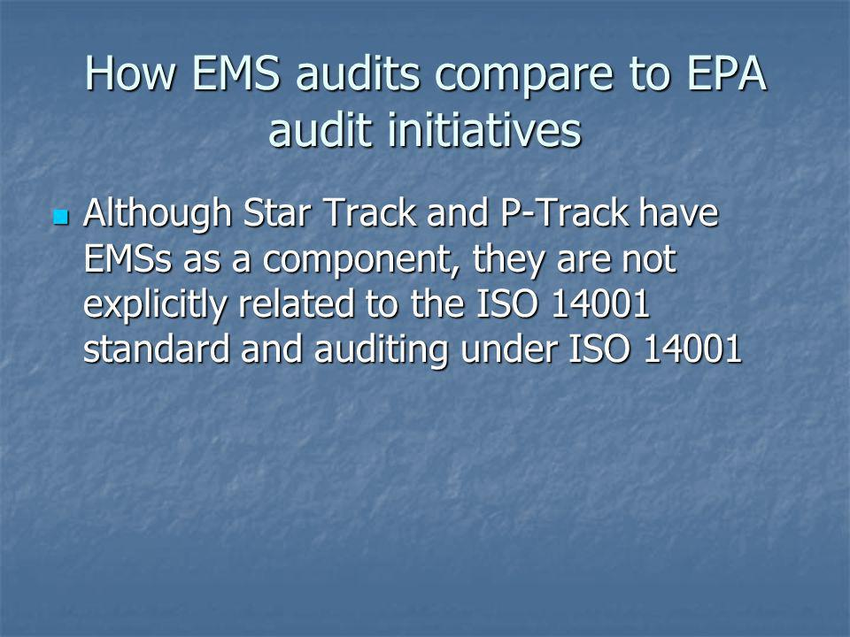 How EMS audits compare to EPA audit initiatives