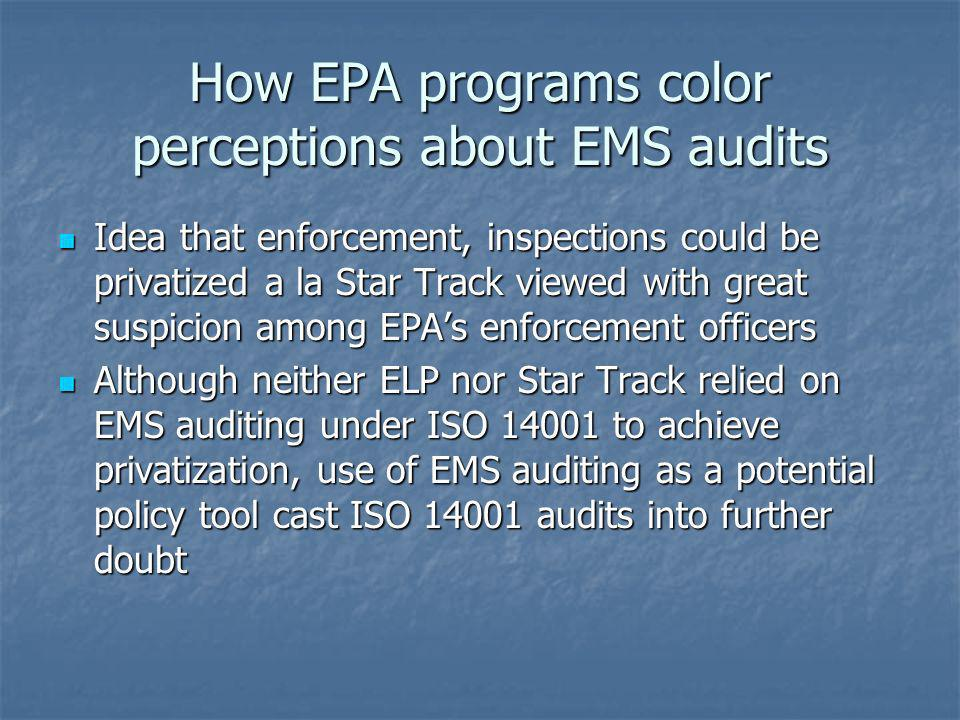 How EPA programs color perceptions about EMS audits