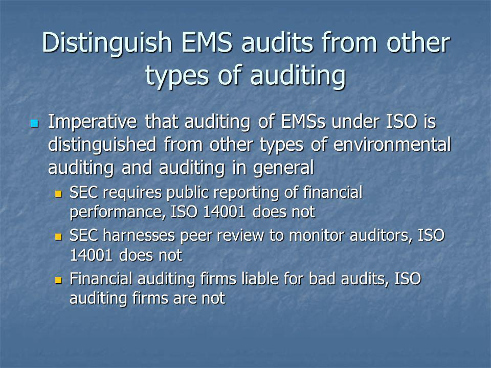 Distinguish EMS audits from other types of auditing