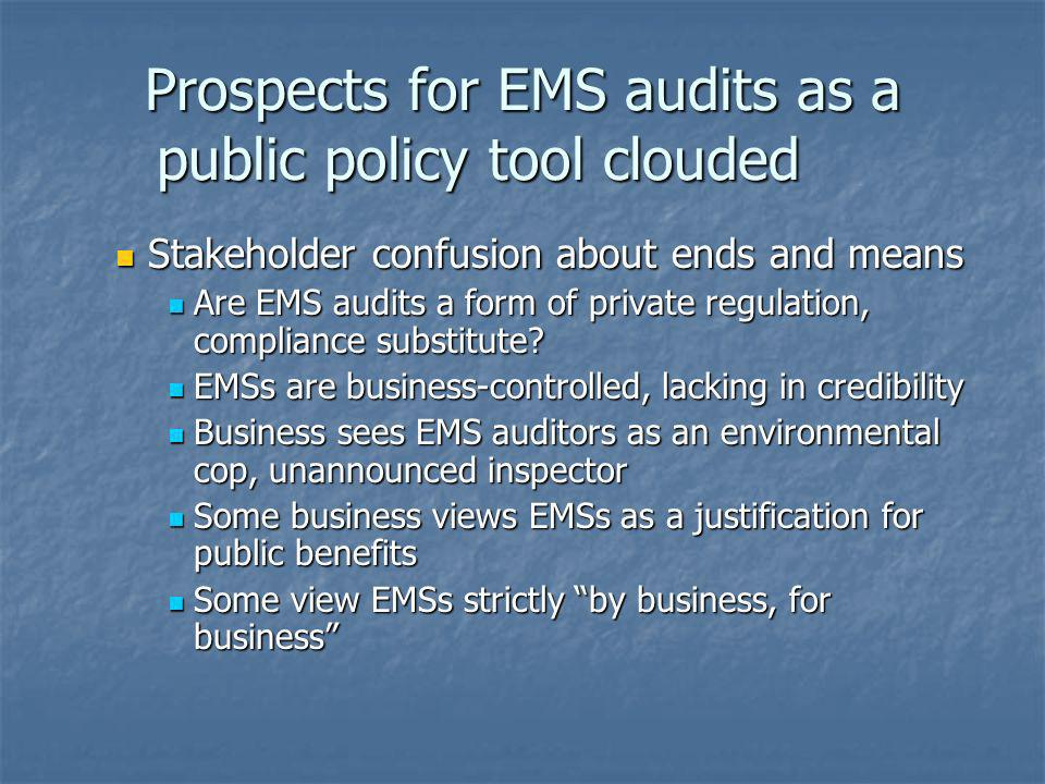 Prospects for EMS audits as a public policy tool clouded