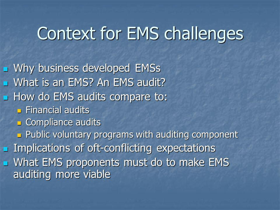 Context for EMS challenges
