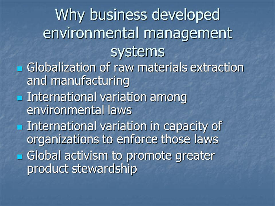 Why business developed environmental management systems