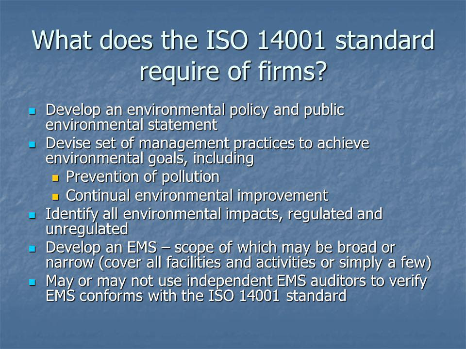 What does the ISO 14001 standard require of firms