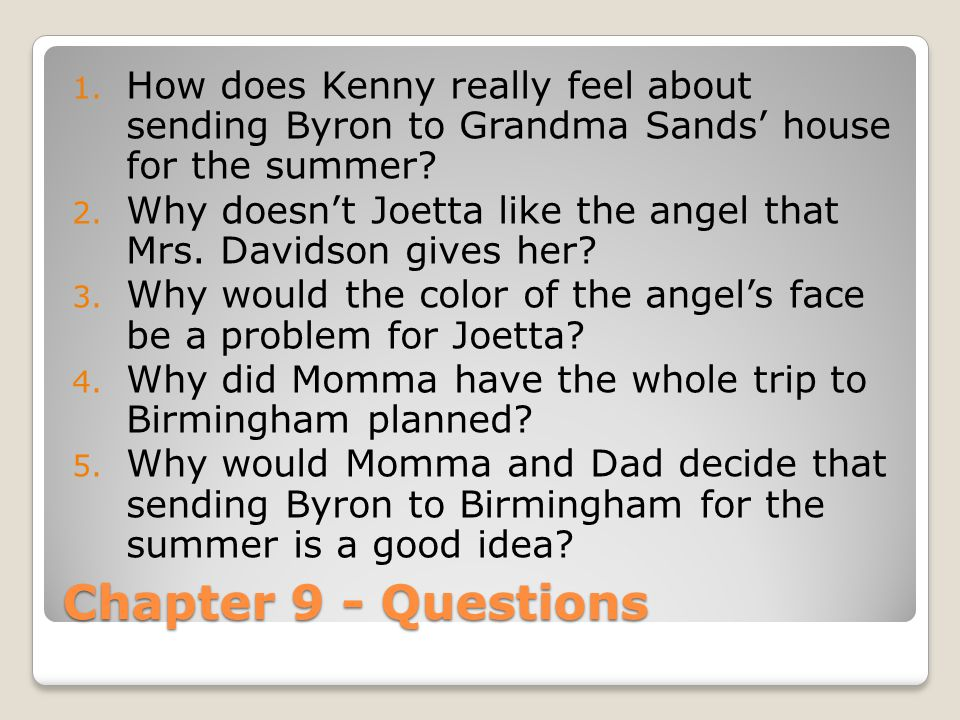 How does Kenny really feel about sending Byron to Grandma Sands' house for the summer