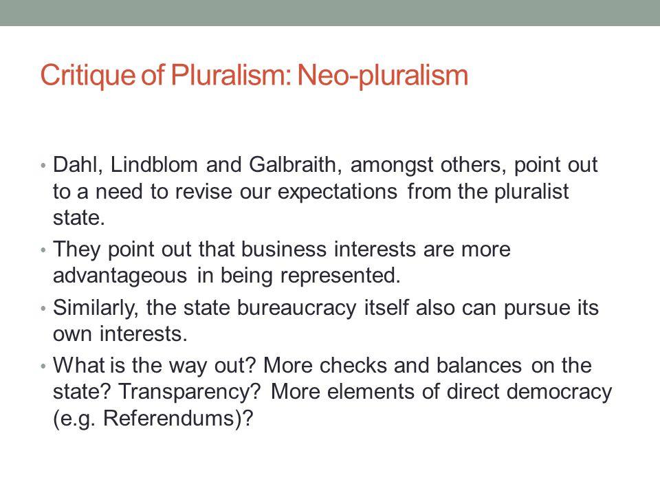 Critique of Pluralism: Neo-pluralism