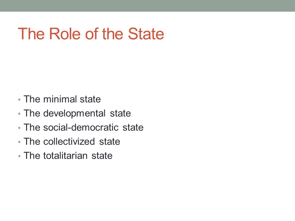 The Role of the State The minimal state The developmental state