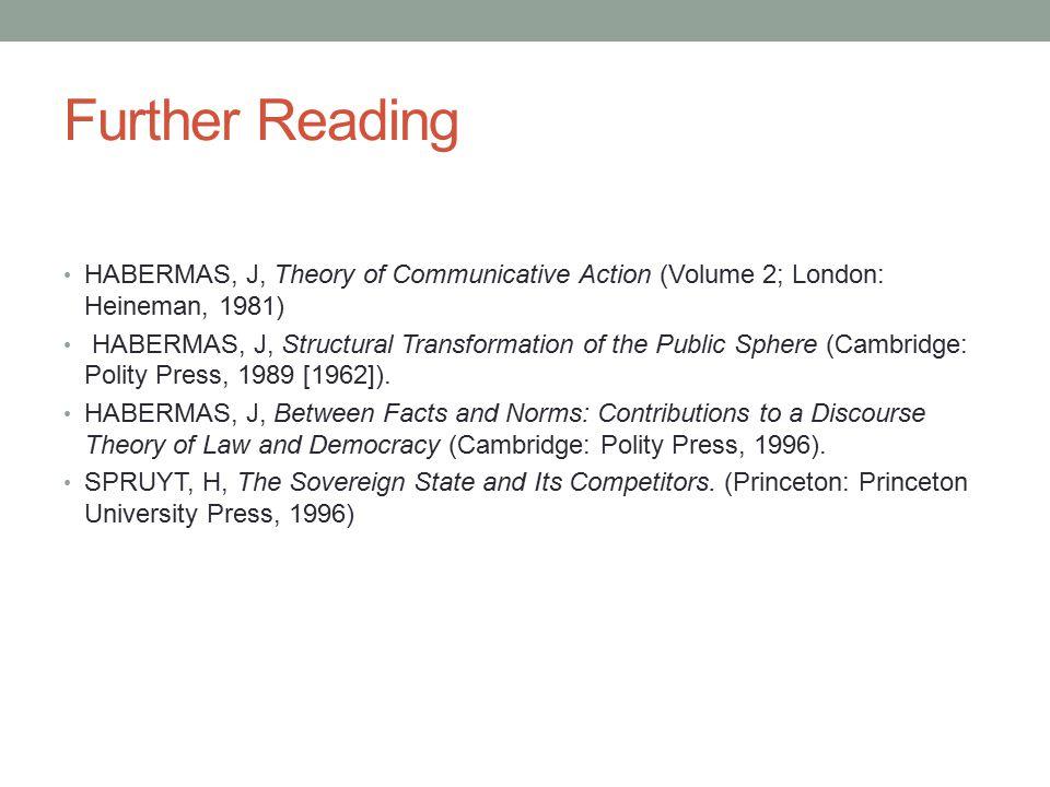Further Reading HABERMAS, J, Theory of Communicative Action (Volume 2; London: Heineman, 1981)