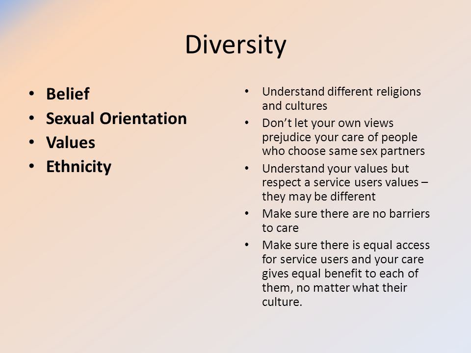 Diversity Belief Sexual Orientation Values Ethnicity