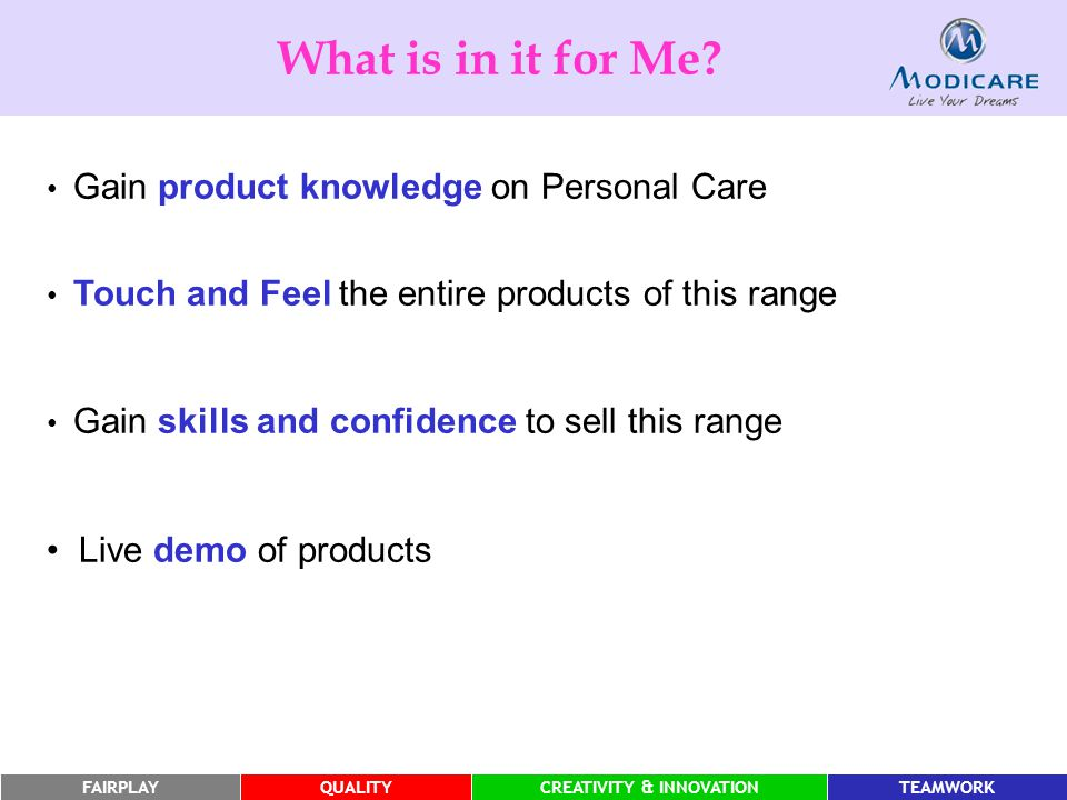 What is in it for Me Live demo of products