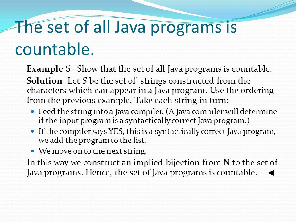 The set of all Java programs is countable.