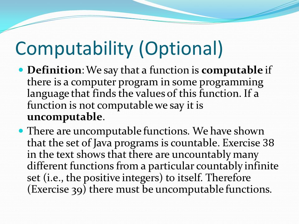 Computability (Optional)
