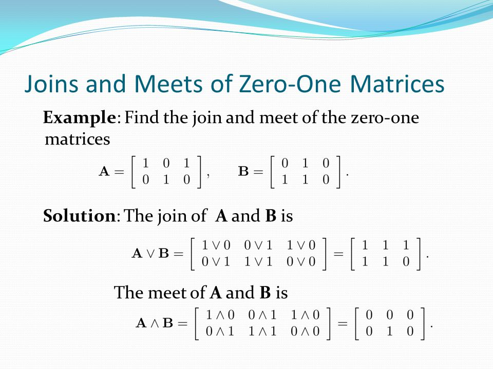 Joins and Meets of Zero-One Matrices