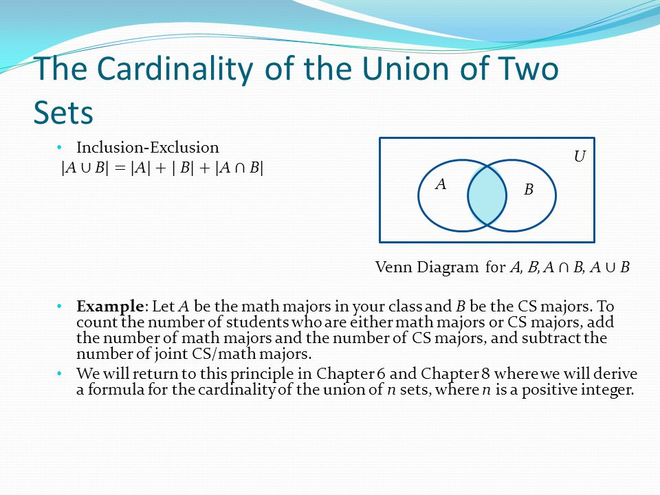 The Cardinality of the Union of Two Sets