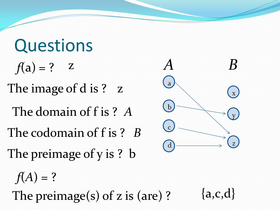 Questions A B z f(a) = The image of d is z The domain of f is A