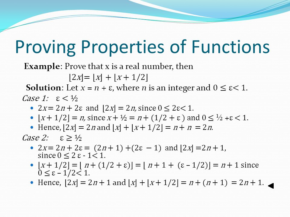 Proving Properties of Functions