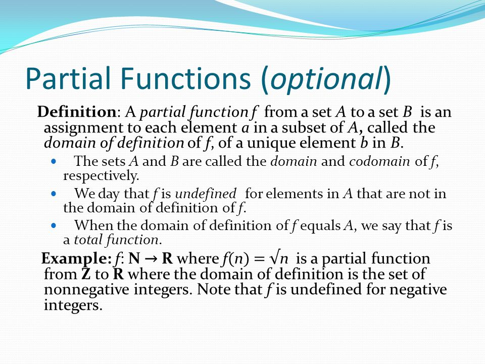 Partial Functions (optional)