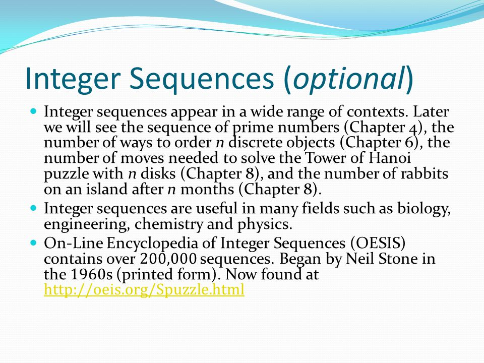 Integer Sequences (optional)
