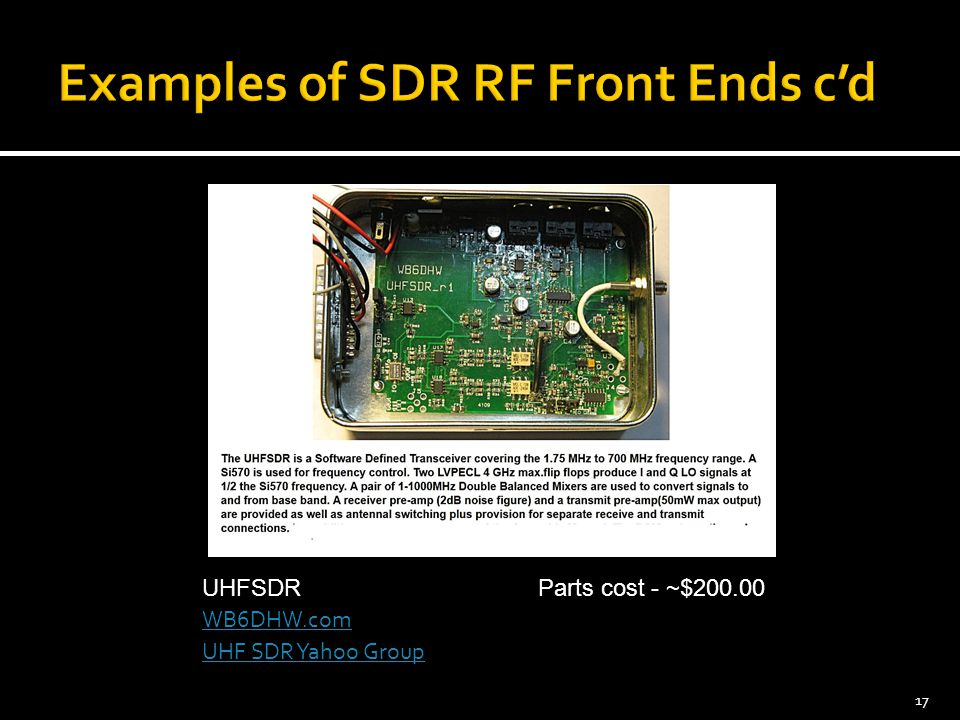 Examples of SDR RF Front Ends c'd