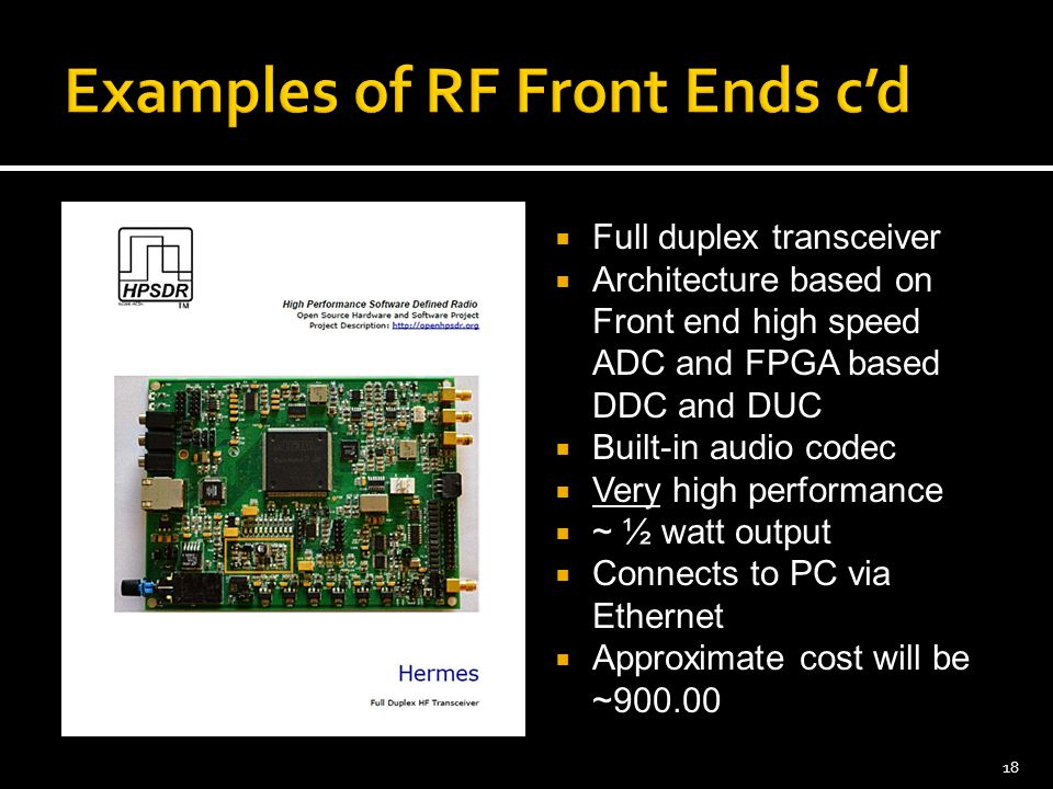 Examples of RF Front Ends c'd