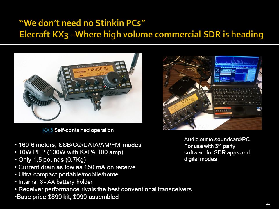 We don't need no Stinkin PCs Elecraft KX3 –Where high volume commercial SDR is heading