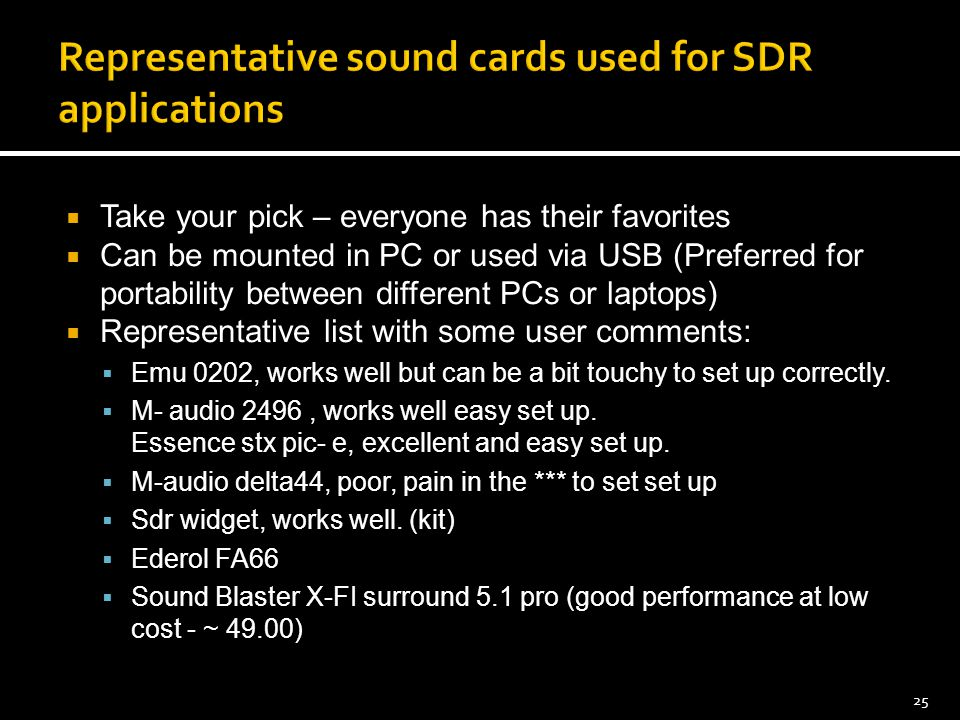 Representative sound cards used for SDR applications