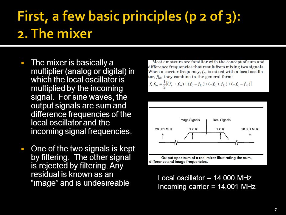 First, a few basic principles (p 2 of 3): 2. The mixer