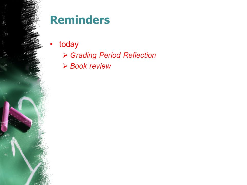 Reminders today Grading Period Reflection Book review