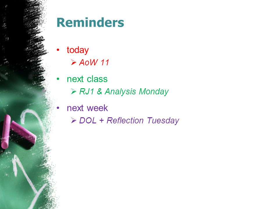 Reminders today next class next week AoW 11 RJ1 & Analysis Monday