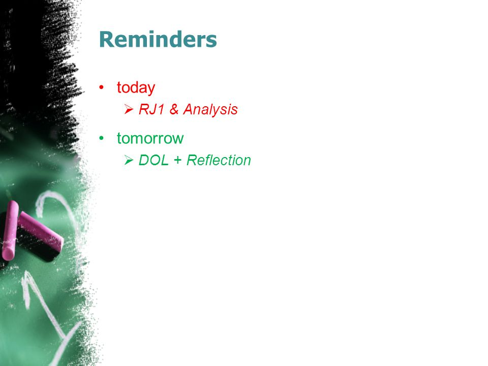 Reminders today RJ1 & Analysis tomorrow DOL + Reflection