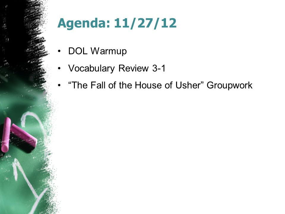 Agenda: 11/27/12 DOL Warmup Vocabulary Review 3-1