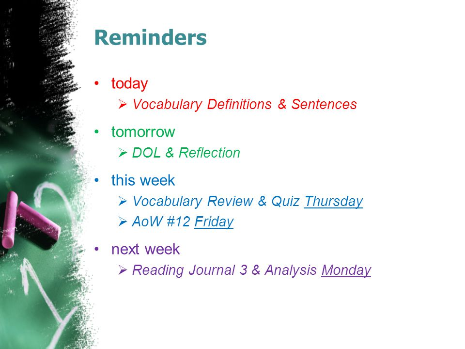 Reminders today tomorrow this week next week