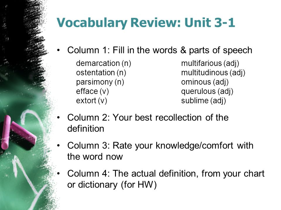 Vocabulary Review: Unit 3-1