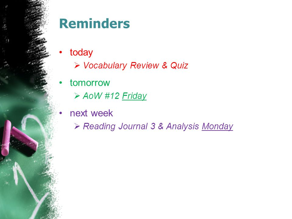 Reminders today tomorrow next week Vocabulary Review & Quiz