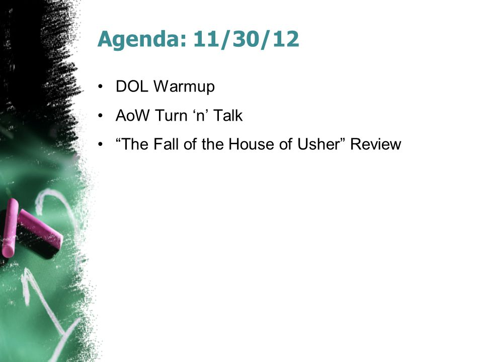 Agenda: 11/30/12 DOL Warmup AoW Turn 'n' Talk