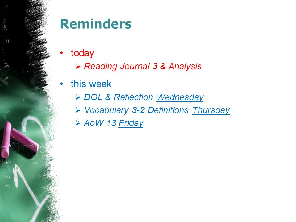 Reminders today this week Reading Journal 3 & Analysis