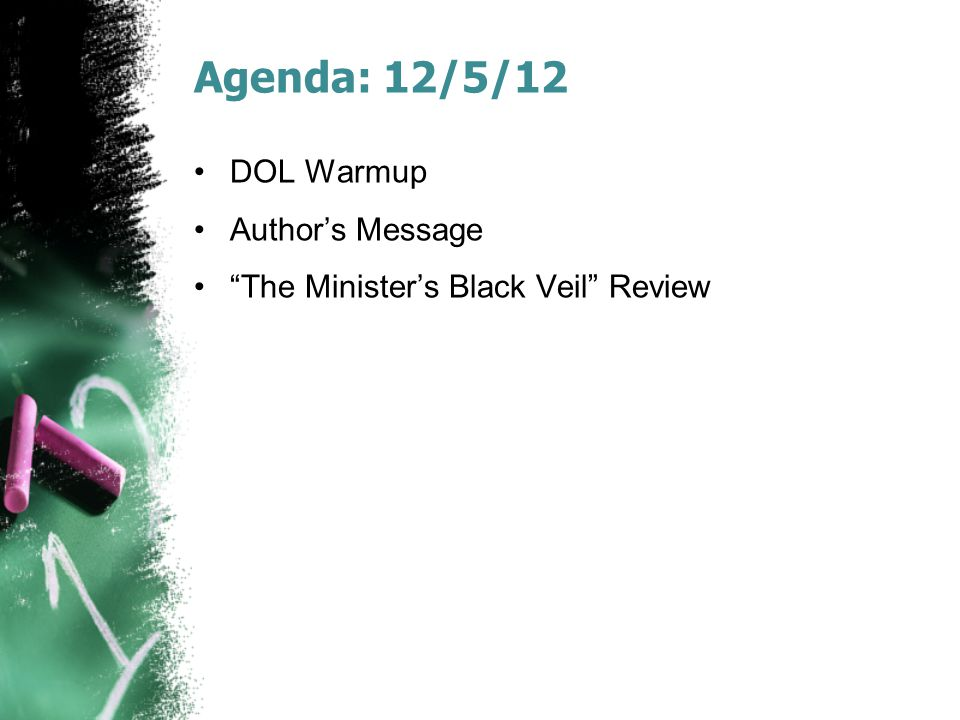 Agenda: 12/5/12 DOL Warmup Author's Message