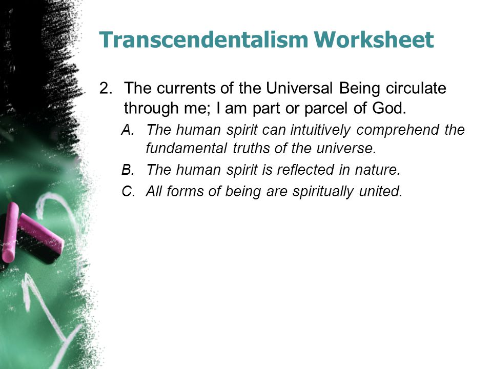 Transcendentalism Worksheet