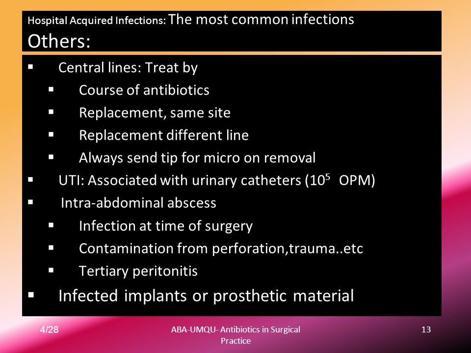 Hospital Acquired Infections: The most common infections Others: