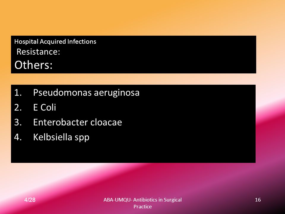 Hospital Acquired Infections Resistance: Others: